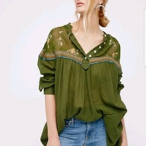 Free People green floral popover tunic top xs